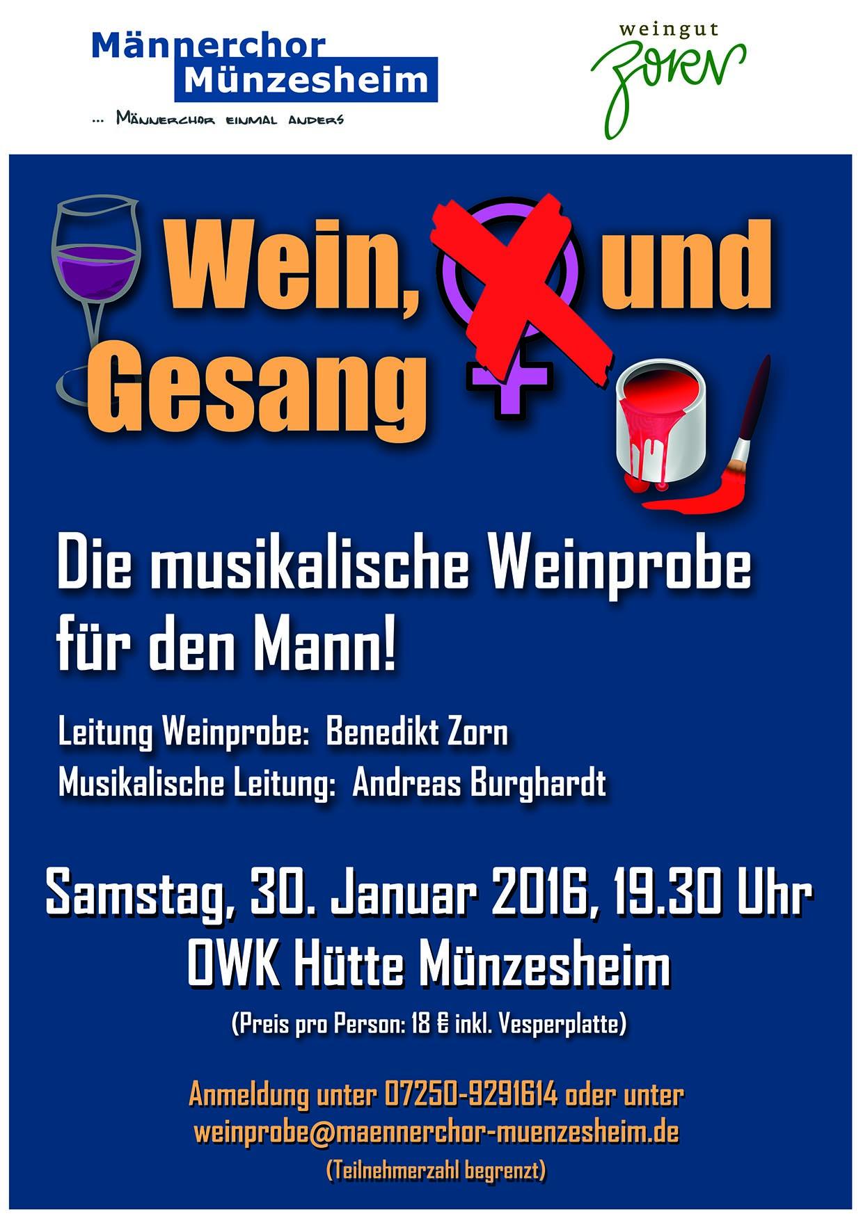 Einladung: Weinchorprobe in der Münzesheimer OWK Hütte